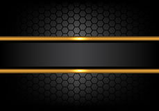 stock image of  abstract black gold line banner on hexagon mesh pattern design modern luxury background vector