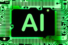 stock image of  abstract,close up of mainboard electronic computer background. artificial intelligence, ai