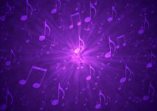 stock image of  abstract music notes blast in blurry grungy dark purple background