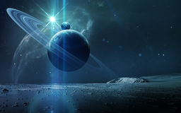 stock image of  abstract scientific background - planets in space, nebula and stars. elements of this image furnished by nasa nasa. gov
