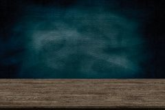 stock image of  abstract wooden table texture and chalk rubbed out on blackboard, for graphic add product, education concept,