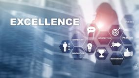 stock image of  achieve business excellence as concept. pursuit of excellence. blurred business center background