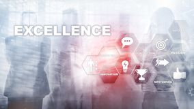 stock image of  achieve business excellence as concept. pursuit of excellence. blurred business center background.
