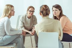 stock image of  active women on meeting