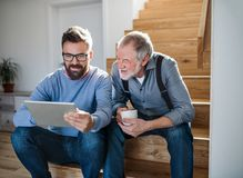 stock image of  an adult son and senior father with tablet sitting on stairs indoors at home.