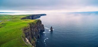 stock image of  aerial panorama of the scenic cliffs of moher in ireland