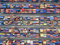 stock image of  aerial top view container in port warehouse waiting for export .