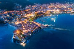 stock image of  aerial view of the old town budva at night