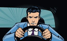 stock image of  aggressive driver behind the wheel of car. race, pursuit in pop art retro comic style. cartoon vector illustration