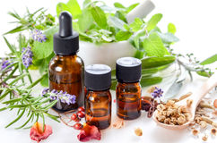 stock image of  alternative therapy with herbs and essential oils