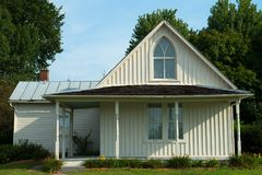 stock image of  american gothic house, farmhouse landmark