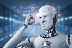 stock image of  android robot thinking