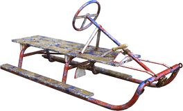 stock image of  antique vintage snow sled isolated, winter toy