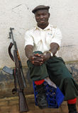 stock image of  armed security guard soldier city & gun,africa