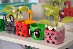 stock image of  art and craft design kid toys from recycle materials