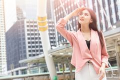 stock image of  asian office women skin damage from sun uv