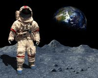 stock image of  moon landing, astronaut walk, space, lunar surface