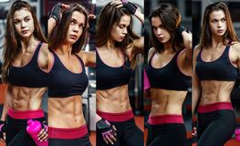stock image of  athletic young woman after hard workout at gym. fitness girl holds shaker with sportive nutrition. collage of photo.