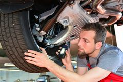 stock image of  auto mechanic repairs vehicle in a workshop