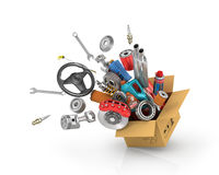 stock image of  auto parts in the card box.