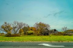 stock image of  autumn country road, october, new jersey usa.