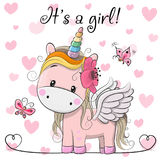 stock image of  baby shower greeting card with unicorn girl