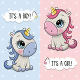 stock image of  baby shower greeting card with unicorns boy and girl