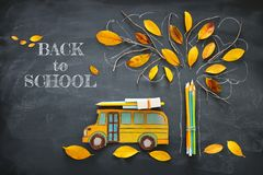 stock image of  back to school concept. top view image of school bus and pencils next to tree sketch with autumn dry leaves over classroom blackbo