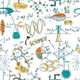stock image of  back to school: science lab objects doodle vintage style sketches seamless pattern,
