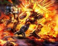 stock image of  battle of combat robots