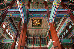 stock image of  beautiful interior ceiling of a house king who lived in the january 11, 2016 gyeongbok palace in seoul, korea