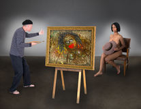 stock image of  beautiful nude model woman funny artist painter