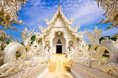 stock image of  beautiful snowy white temple wat rong khun temple in chiang rai, thailand, asia