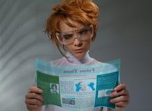 stock image of  beautiful woman with flexible hi-tech display