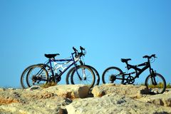 stock image of  bicycles on a hill