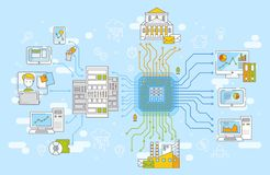 stock image of  big data network management concept vector illustration. collection of information, data storage and analysys.