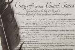 stock image of  bill of rights with feather pen