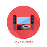 stock image of  black entertainment system with blank screen flat style icon. wireless technology, home theater sign. vector