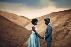 stock image of  newlyweds stand and hold hands in canyon against beautiful landscape.
