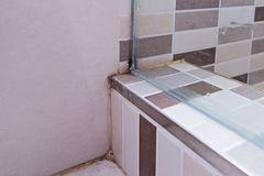 stock image of  unhygienic dirty mildew in bathroom on ceramic floor