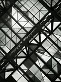 stock image of  black and white photo of glass ceiling with geometric shapes