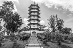 stock image of  black and white of the chinese gardens pagoda is one of the most recognizable icons in singapore.