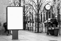 stock image of  black and white outdoor billboard mockup on city street