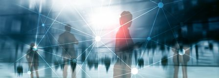 stock image of  blockchain network on blurred skyscrapers background. financial technology and communication concept