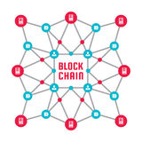 stock image of  blockchain network computer technology - creative vector concept illustration. abstract banner layout graphic design.