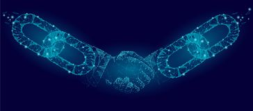 stock image of  blockchain technology agreement handshake business concept low poly. polygonal point line geometric design. hands chain