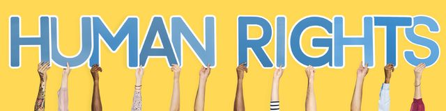stock image of  blue letters forming the word human rights
