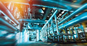 stock image of  blur, blurred, pipe, pipeline, machine, interior, inside, plant, oil and gas