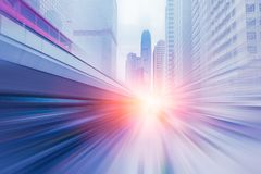stock image of  blur high speed business forward with large capital office