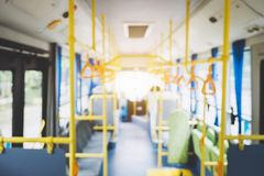 stock image of  blur image of interior in city bus, transport, tourism and road